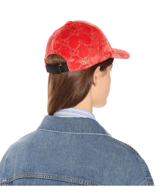 2e2d41c10cea5 Lyst - Gucci Light Red Velvet Feel Hat By in Red - Save 57%