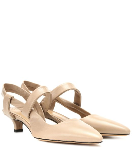 The Row - Natural Coco Twist Leather Slingback Pumps - Lyst