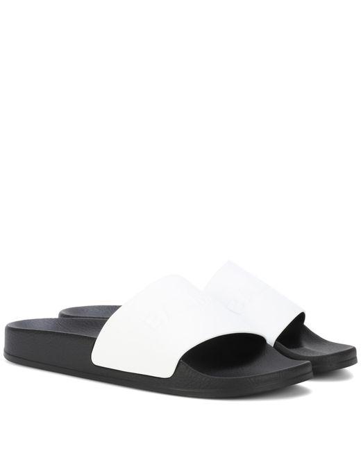 Balmain - White Calypso Logo Leather Slide Sandals - Lyst