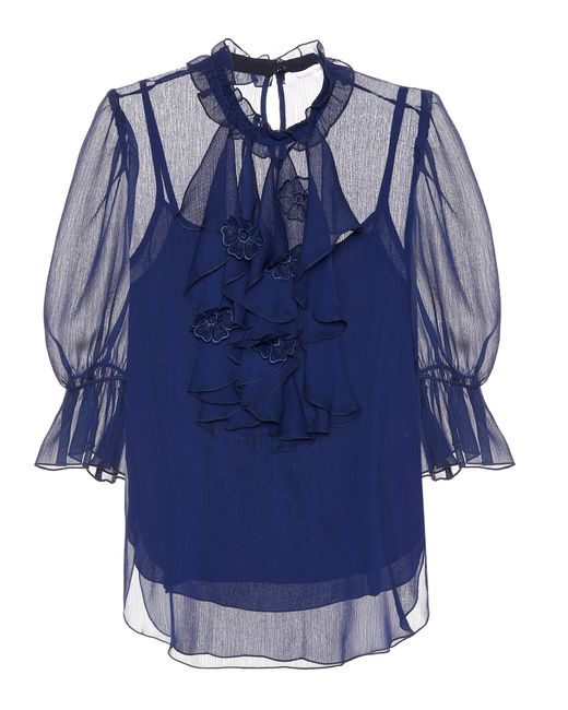 See By Chloé Blue Sheer Blouse