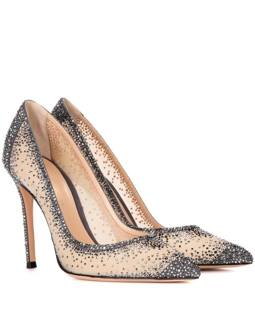 Gianvito Rossi - Natural Rania Crystal-embellished Pumps - Lyst