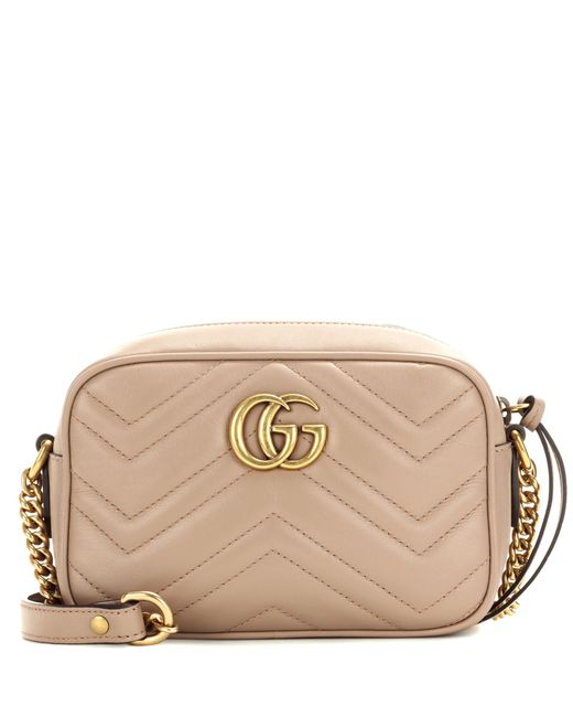 Gucci - Natural Gg Marmont Mini Matelassé Leather Crossbody Bag - Lyst