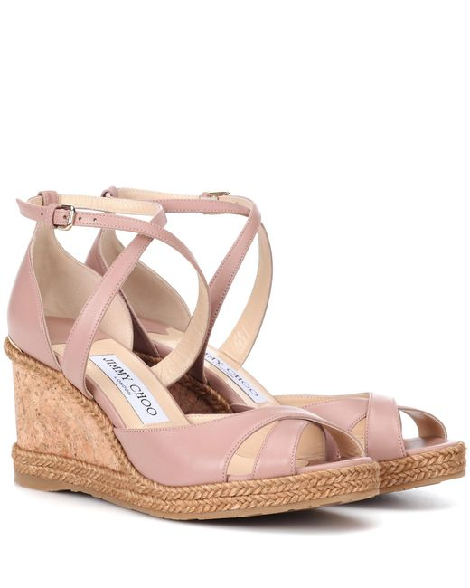 Jimmy Choo - Pink Alanah 80 Leather Wedge Sandals - Lyst