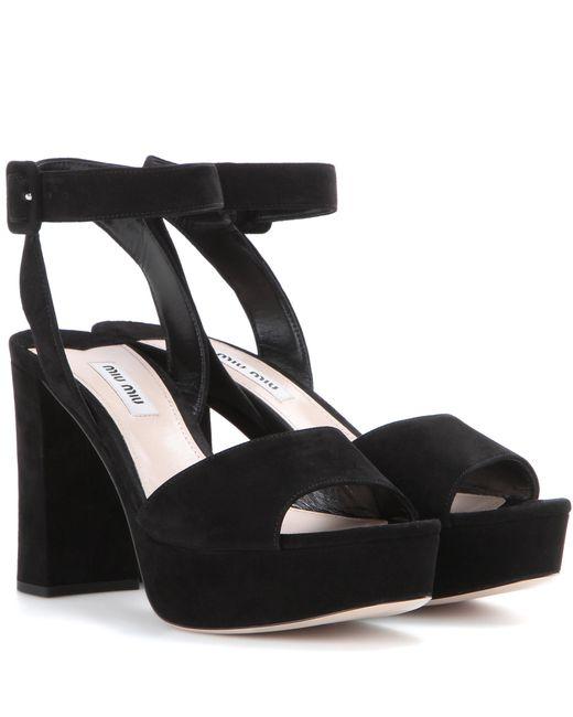 Miu Miu   Black Suede Platform Sandals   Lyst
