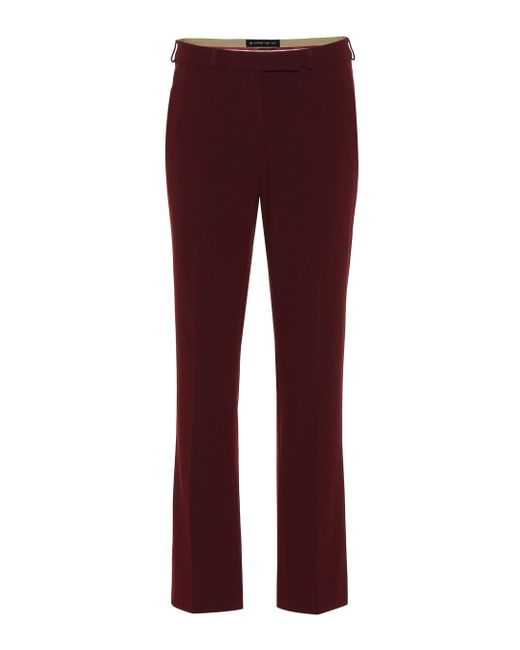 Etro - Red Mid-rise Straight Crêpe Pants - Lyst