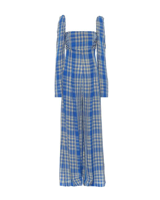 Rosie Assoulin - Blue Off-the-shoulder Plaid Jumpsuit - Lyst