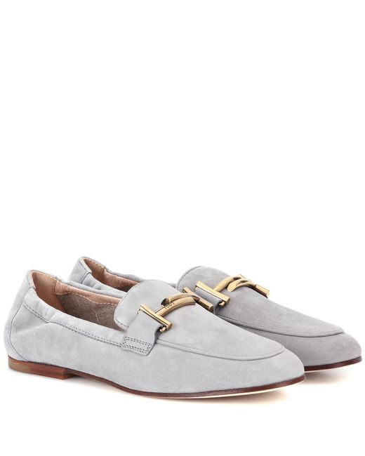 Tod's - Gray Double T Suede Loafers - Lyst