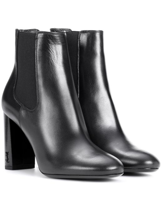 Saint Laurent - Black Babies 90 Leather Ankle Boots - Lyst
