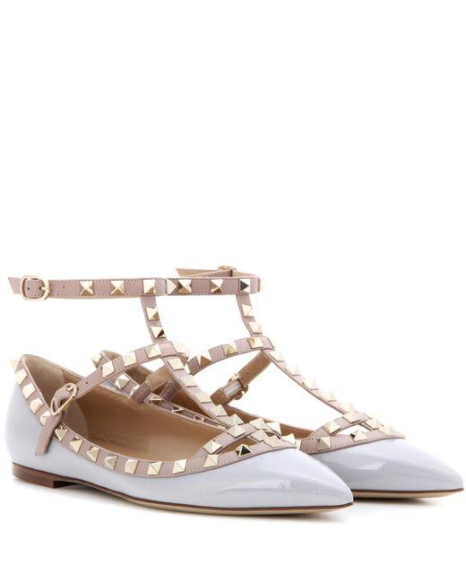 Valentino   Pink Garavani Rockstud Patent Leather Ballerinas   Lyst