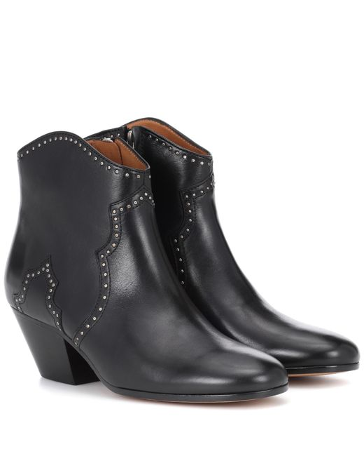 Isabel Marant - Black Dicker Leather Ankle Boots - Lyst