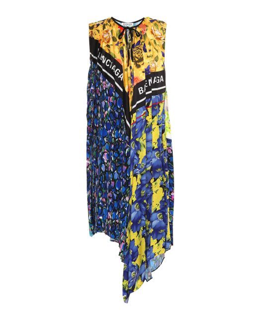 82a8164b1220 Balenciaga - Blue Printed Dress - Lyst ...