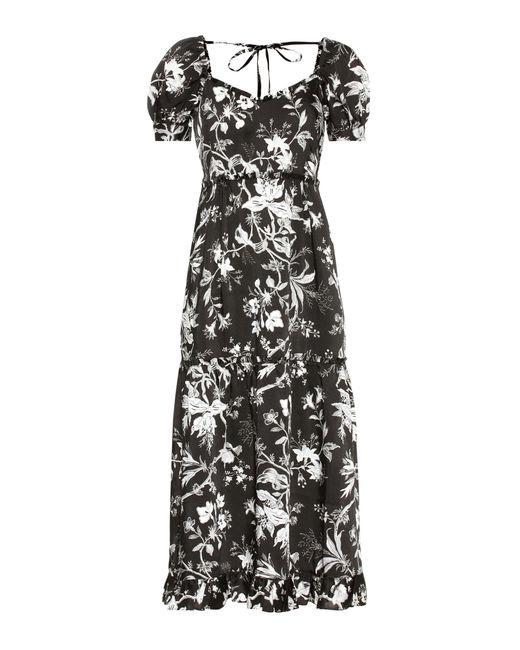 McQ Alexander McQueen - Black Ruffled Négligé Soho Florals Dress - Lyst