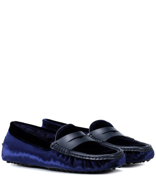 846ae018212 Tod s - Blue Exclusive To Mytheresa – Gommino Velvet Loafers - Lyst ...