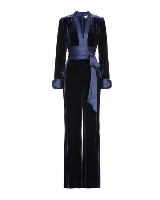 Diane von Furstenberg - Blue Velvet Jumpsuit - Lyst