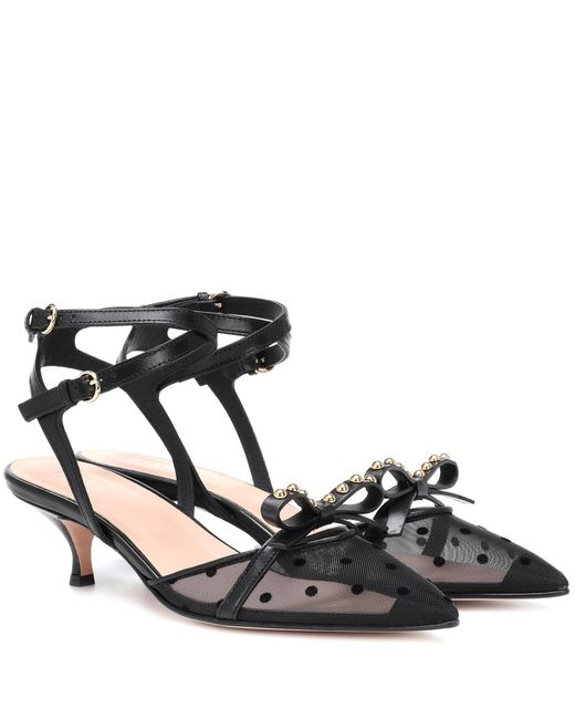 RED Valentino - Black Red (v) Soft Bow Leather Slingback Pumps - Lyst