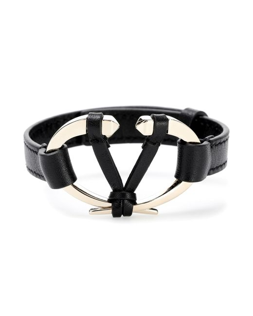 Valentino - Black Leather Bracelet - Lyst