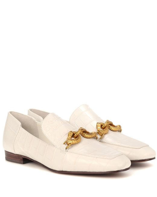 Tory Burch - White Jessa Leather Loafers - Lyst