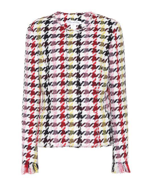 Oscar de la Renta - Red Houndstooth Wool-blend Jacket - Lyst