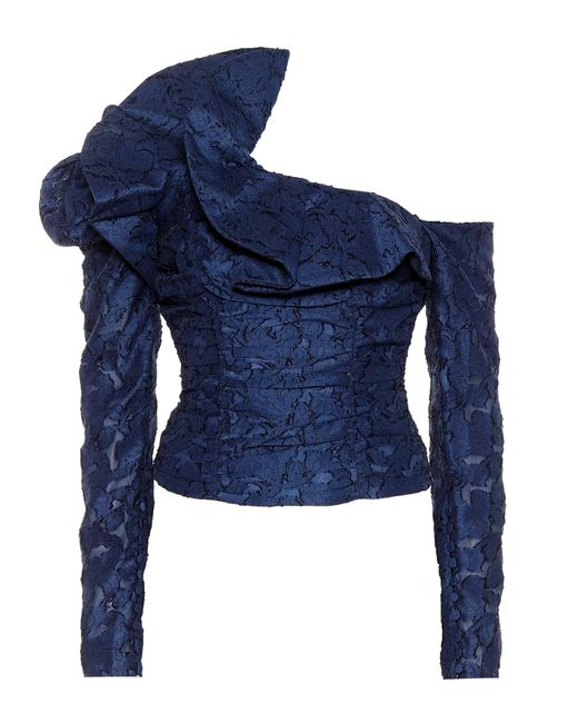 Self-Portrait - Blue Ruffled Lace Off-the-shoulder Top - Lyst