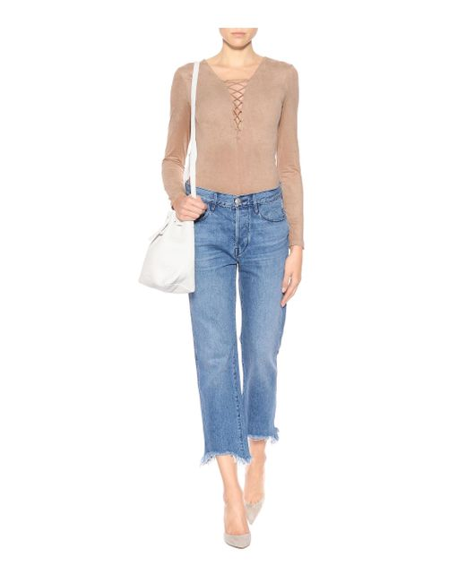 88e3f32dc2896 ... T By Alexander Wang - Natural Lace-up Bodysuit - Lyst ...