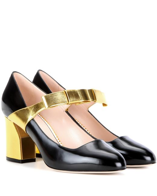 Gucci - Black Embellished Leather Pumps - Lyst