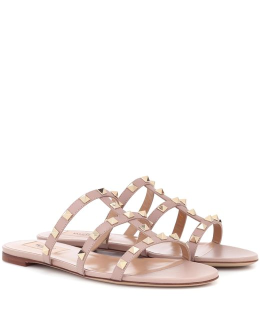 Valentino - Pink Garavani Rockstud Leather Sandals - Lyst