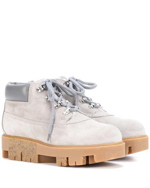 Acne - Gray Exclusive To Mytheresa. Com – Tinne She Suede Ankle Boots - Lyst