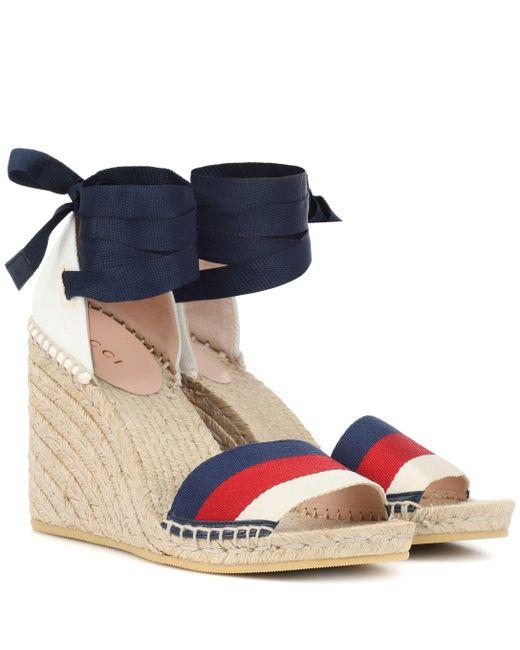 Gucci - Blue Sandales compensées Sylvie Web - Lyst
