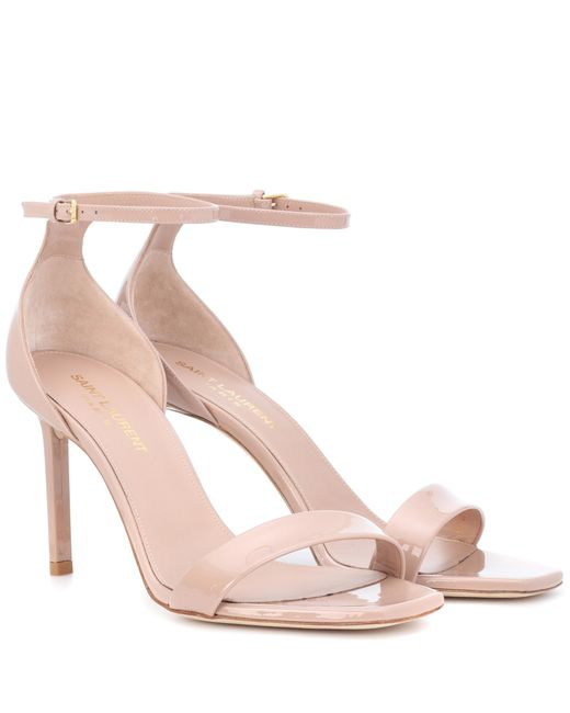Saint Laurent - Pink Amber 85 Patent Leather Sandals - Lyst