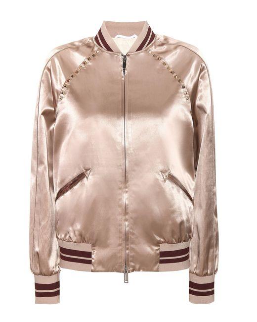 Valentino - Natural Rockstud Untitled Satin Varsity Jacket - Lyst