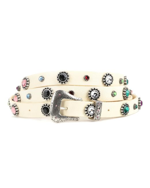 Dodo Bar Or - White Crystal-embellished Leather Belt - Lyst