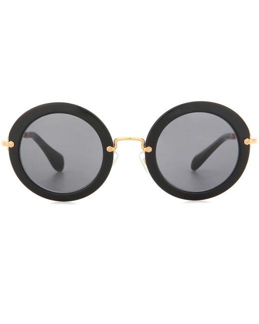Miu Miu - Black Round Sunglasses - Lyst