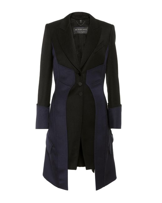 Burberry | Black Tailored Wool Coat | Lyst