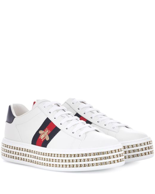 Gucci White Ace Sneakers With Crystals