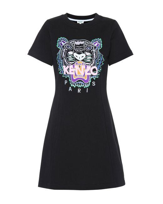 KENZO - Black Tiger Logo Cotton Minidress - Lyst