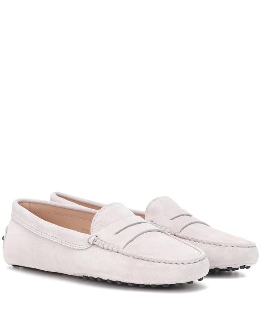 Tod's - Gray Gommino Suede Loafers - Lyst