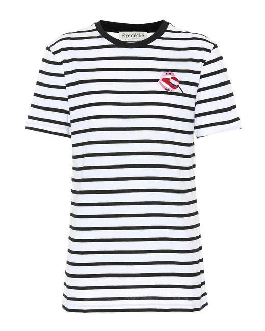Être Cécile White Striped Cotton T-shirt