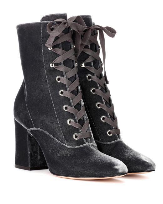 Gianvito Rossi - Gray Mackay 85 Velvet Ankle Boots - Lyst