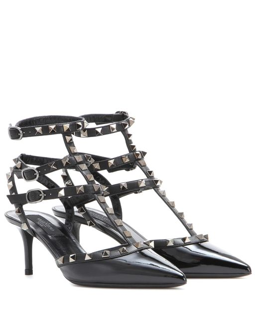 Valentino - Black Rockstud Kitten-Heeled Patent-Leather Pumps - Lyst