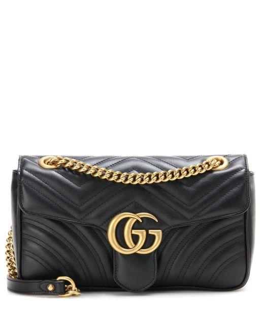 Gucci - Black Sac à bandoulière en cuir matelassé GG Marmont - Lyst ... b67bbd10534