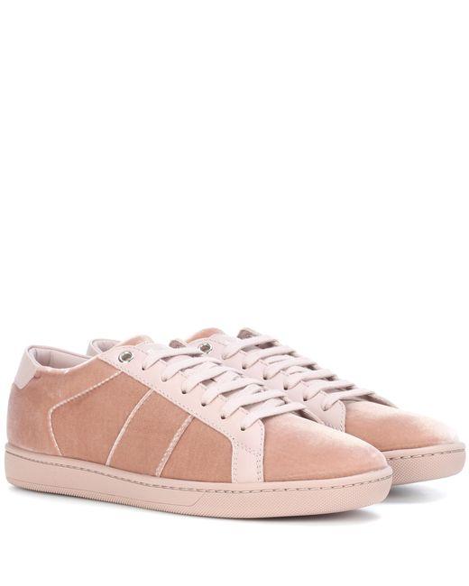Saint Laurent | Pink Sl/01 Velvet Sneakers | Lyst