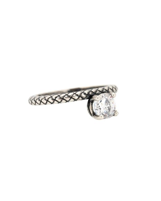 Bottega Veneta   Metallic Cubic Zirconia-embellished Silver Ring   Lyst