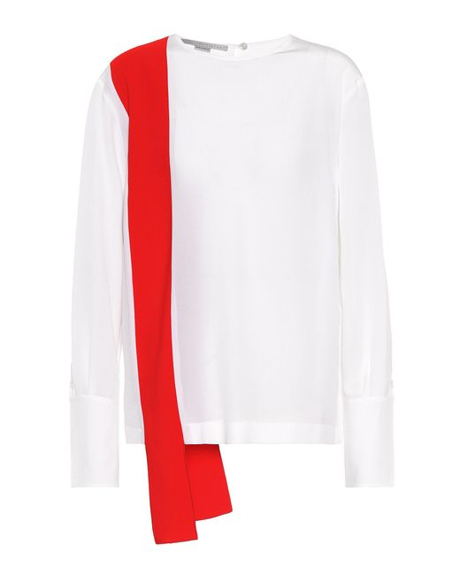 Stella McCartney - White Panelled Silk Blouse - Lyst