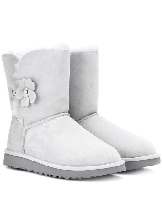 Ugg - Gray Bailey Button Poppy Suede Ankle Boots - Lyst
