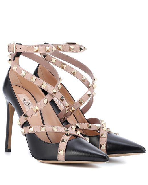 Valentino - Black Garavani – Studwrap 105 Leather Pumps - Lyst
