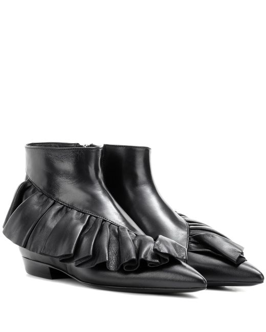 J.W. Anderson - Black Ruffle Leather Ankle Boots - Lyst