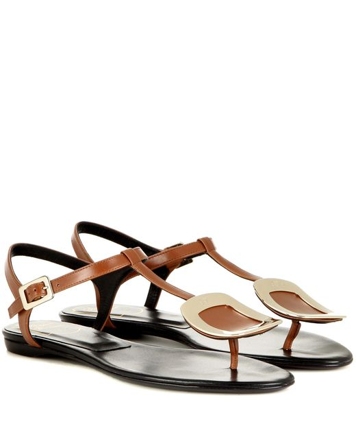 Roger Vivier - Brown Thong Chips Leather Sandals - Lyst
