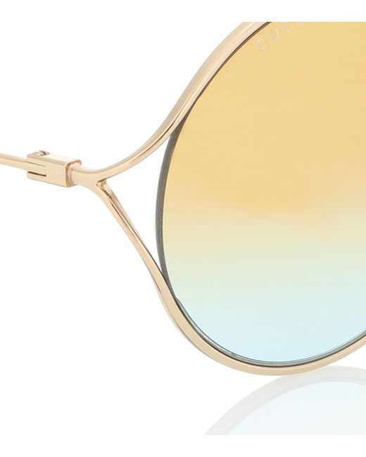 ea824f2bd11 ... Gucci - Metallic Round Sunglasses - Lyst ...