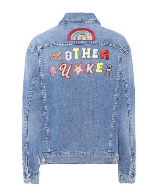 Mother | Blue The Drifter Embroidered Denim Jacket | Lyst