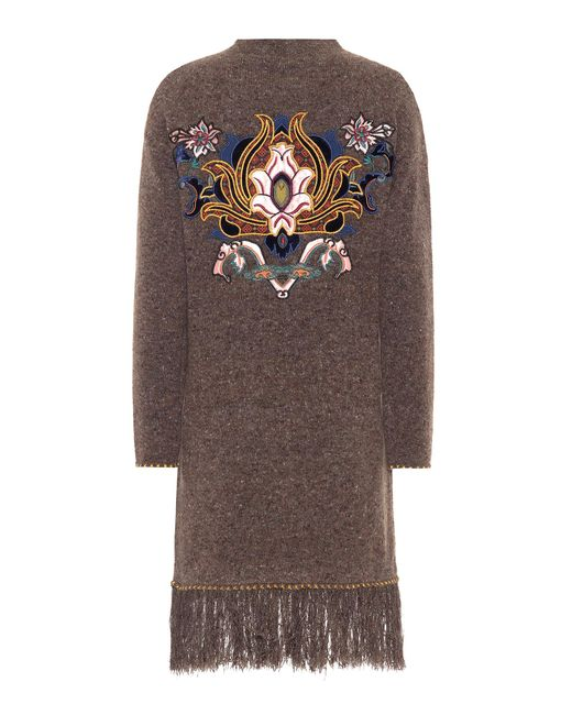 Etro - Brown Embellished Wool And Cashmere Dress - Lyst